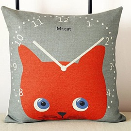 Attractive Red Cat and Clock Pattern Wonderful Throw Pillow
