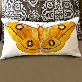 Big Yellow Butterfly Pattern Super Soft Throw Pillow