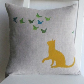 Cute Lovely Cat Watching Flying Butterflies Pattern Throw Pillow