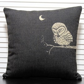 Dark Color Owl Sleeping over Tree Pattern Throw Pillow