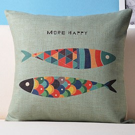 Light Green Background Colorful Fish Pattern Soft Throw Pillow