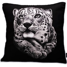 Concise Black Tiger Painting White Soft Throw Pillow