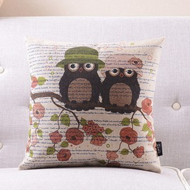 Mr. Owl Falls in Love with Mrs. Owl Printed Throw Pillow