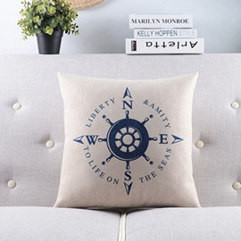 Simple Style Voyage Series--Helm and Directions Throw Pillow