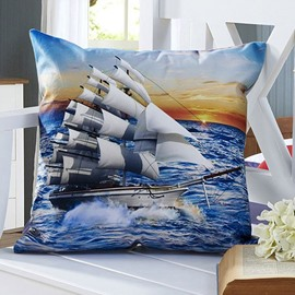 Fluffy Sail Boat 3D Digital Printing Throw Pillow