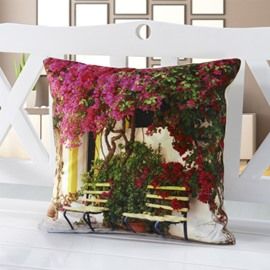 Attractive Flower above Bench Print Soft Throw Pillow
