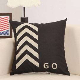 Fashionable Arrow Print Cotton Linen Black Throw Pillow