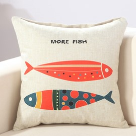 Two Colorful Fishes European Style Cotton Linen Throw Pillow