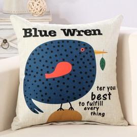 Cartoon Fat Blue Wren Print Decorative Throw Pillow