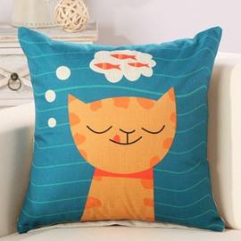 Fancy Cat Dreaming Fish Print Decorative Throw Pillow