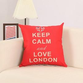 Letter Print Red Cotton Linen Decorative Throw Pillow