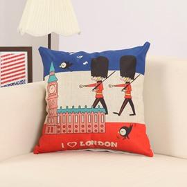 Cartoon Britain Imperial Guard Print Decorative Throw Pillow
