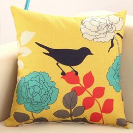 Bird Waiting for Blossoming Print Throw Pillow