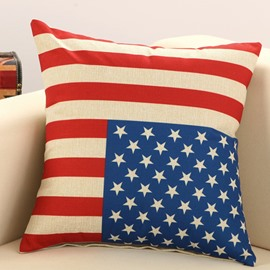 The Stars and Stripes Print Cotton Linen Throw Pillow
