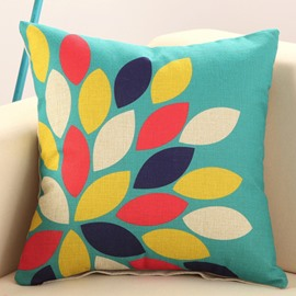 Colorful Leaves Print Green Cotton Linen Throw Pillow