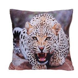 Vigorous Fierce Leopard Digital Print Plush Throw Pillow