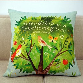 Birds on The Green Tree Print Pastoral Style Throw Pillow