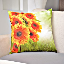 Bright Yellow Sunflowers Print Plush Throw Pillow
