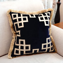 Noble Personalized Design Macrame Blue Throw Pillow