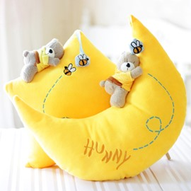 Manual Bear Lying on Yellow Moon and Star 2-piece Throw Pillows