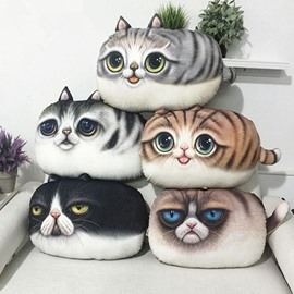 Adorable 3D Kitty/Cat Shape Plush Throw Pillow