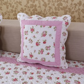 Lovely Square Pink Flower Print with Invisible Zipper For Sofa Throw Pillow