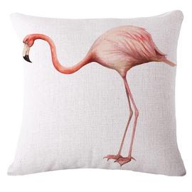Unique Pink Flamingo 3D Printed White Throw Pillow