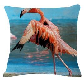 Flamingo Taking off Print Square Throw Pillow