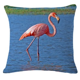 3D Pink Flamingo Standing In Water Printed Square Throw Pillow