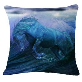 Strong and Vigorous Horse Running Through Water Print Throw Pillow