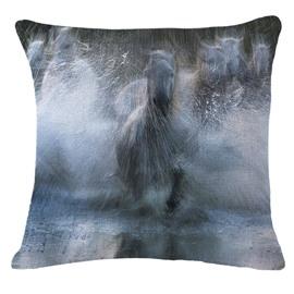 Amazing Horses Running and Splashing through Water Print Throw Pillow