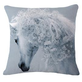 Beautiful 3D White Horse Print Throw Pillow