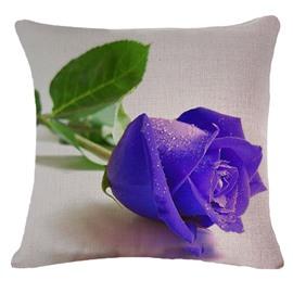 Elegant 3D Purple Rose Printed Throw Pillow