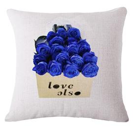 Romantic Blue Rose Print Decorative Throw Pillow
