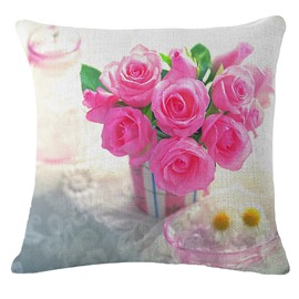 Lovely Pink Rose Print Square Throw Pillow