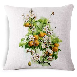 Pastoral Style Longan and Flower Print Throw Pillow