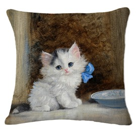 Lovely Exotic White Kitty/Cat Print Square Throw Pillow