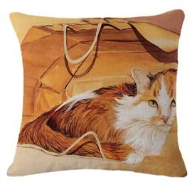 Longhair Cinnamon and White Cat/Kitten Print Throw Pillow