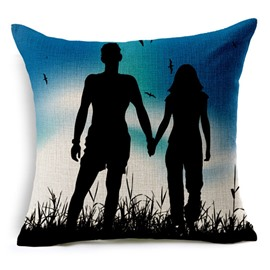 Silhouette Of A Couple Holding Hands Print Throw Pillow
