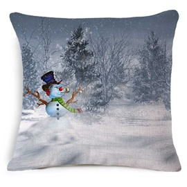 Likable Christmas Snowman Print Square Throw Pillow