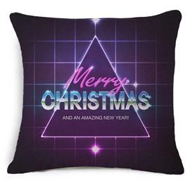 Chic Merry Christmas Triangle Print Purple Throw Pillow