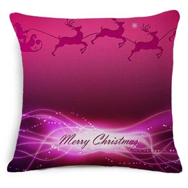 Merry Christmas Reindeer Print Burgundy Throw Pillow