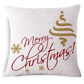 Typography Merry Christmas Print White Throw Pillow
