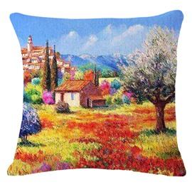 Impressionist Beautiful Landscape Print Square Throw Pillow