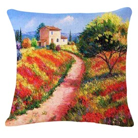 Magic View of Trail Print Square Throw Pillow