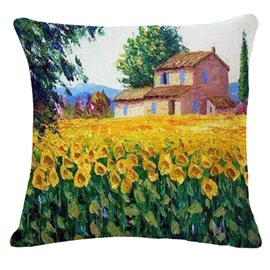 Glorious Sunflower Fields Print Square Throw Pillow