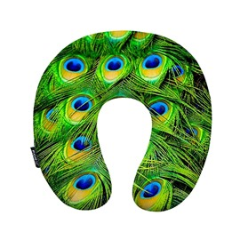 Noble Peacock Feather Print U-Neck Travel Pillow