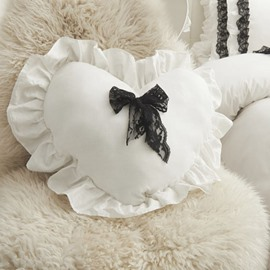 Super Lovely White Cotton Heart Shaped Throw Pillow