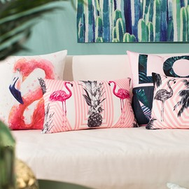 Elegant Pink Flamingo Print PP Cotton Throw Pillow