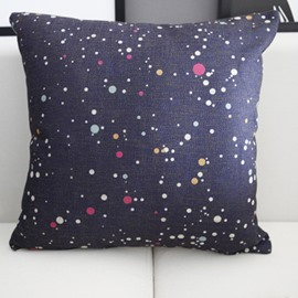 Mysterious Stars and Sky Galaxy Prints Linen Throw Pillow
